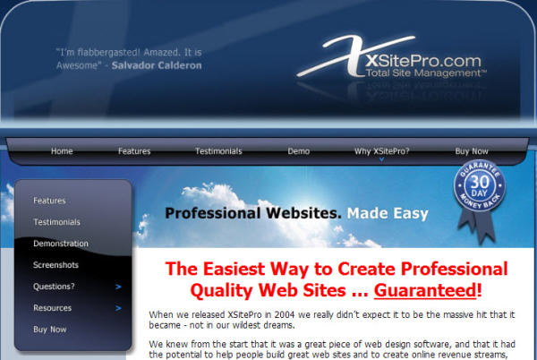 create a business website xsitepro