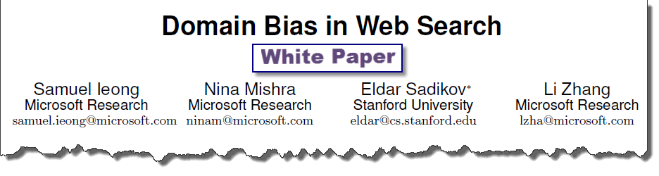 domain bias in web search