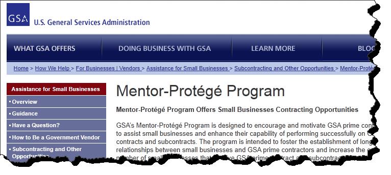GSA MENTOR program for small business