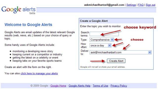 how to google alert for restaurant news