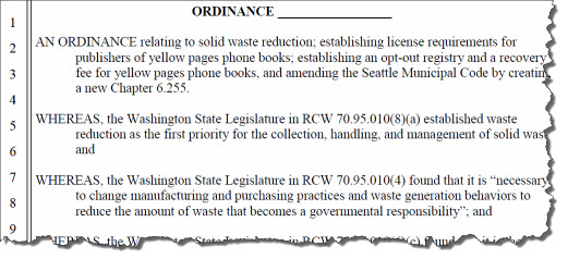 phone book legislation