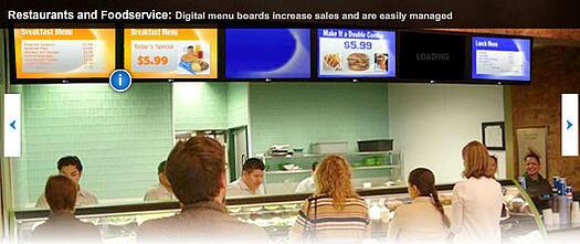 menus numériques de restaurant