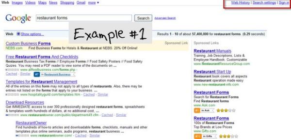 restaurant forms on Google 1