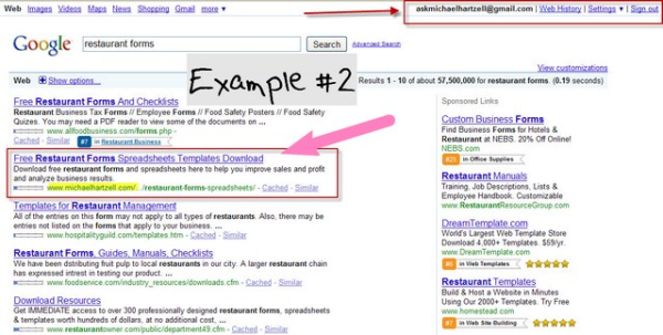 restaurant forms on Google #2