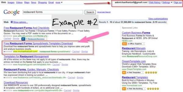 restaurant forms on Google #2