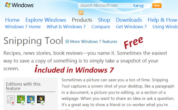 Windows 7 Snipping screen capture resized 600