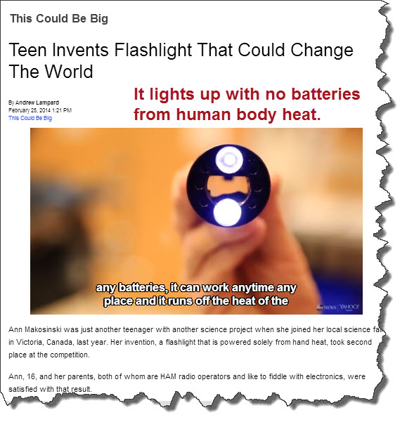 flashlight invented uses body heat