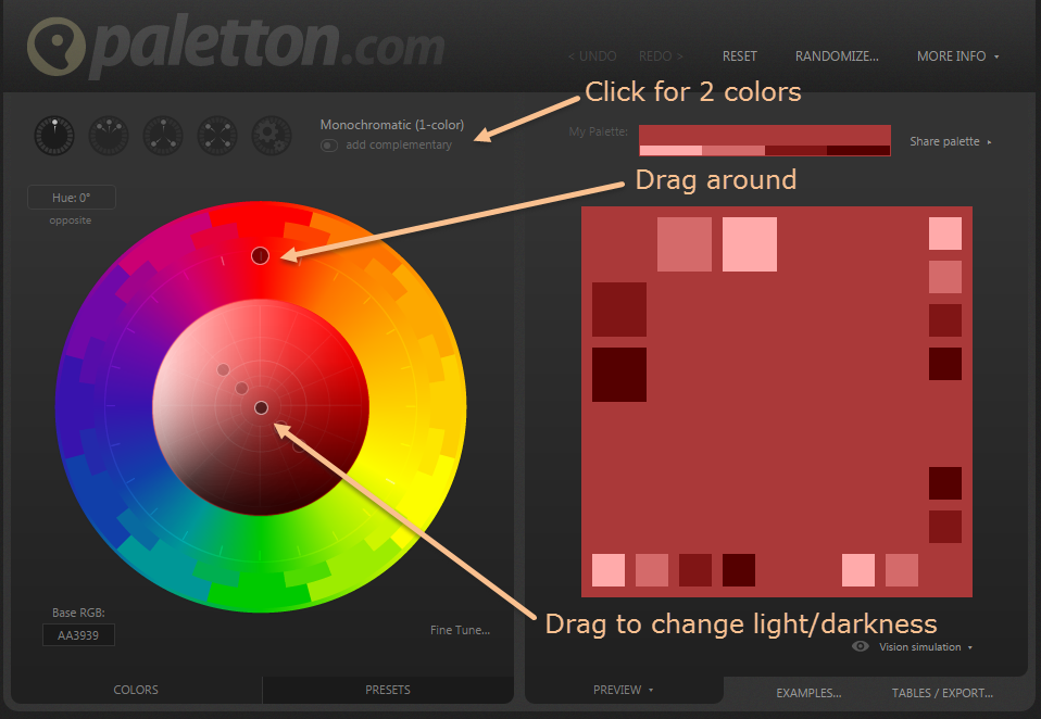 How To Use Free Software Tool Paletton Online Match Colors Perfectly